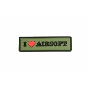 GFC Tactical nášivka I Love Airsoft, olive, 8 x 2,5cm