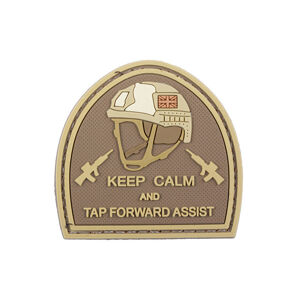 GFC Tactical nášivka Keep Calm and Tap Forward Assist, coyote 5 x 5cm