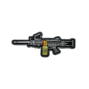 GFC Tactical nášivka Specna Arms SA-249, čierna, 8,3 x 3,5cm