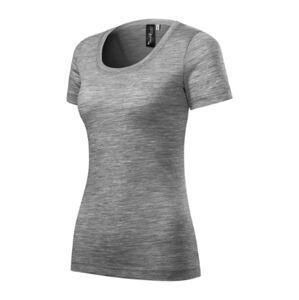 Malfini Merino Rise dámske krátke tričko, tmavosivý melír