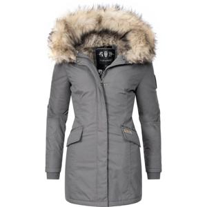 Navahoo Cristal dámska zimná bunda s kapucňou a kožušinou, sivá