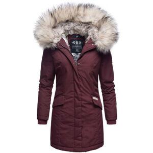 Navahoo Cristal dámska zimná bunda s kapucňou a kožušinou, vínová
