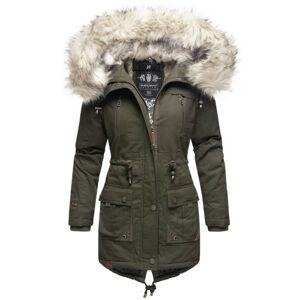 Navahoo Honigfee dámska zimná bunda s kapucňou a kožušinou, olivová