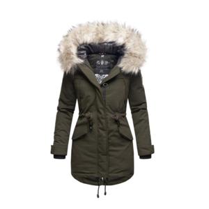 Navahoo LadyLike dámska zimná bunda s kapucňou a kožušinou, olivová