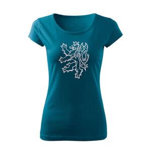 WARAGOD dámske tričko český lev, petrol blue 150g/m2