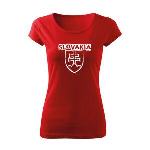 WARAGOD dámske tričko slovenský znak s nápisom, červená 150g/m2
