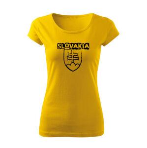 WARAGOD dámske tričko slovenský znak s nápisom,žltá 150g/m2