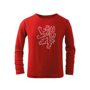WARAGOD Detské dlhé tričko Český lev, červená