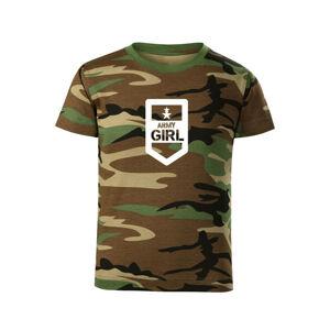 WARAGOD Detské krátke tričko Army girl, maskáčová