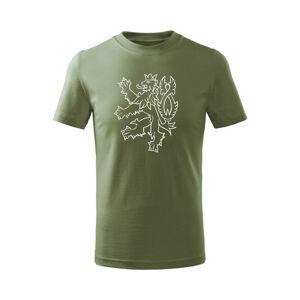 WARAGOD Detské krátke tričko Český lev, olivová