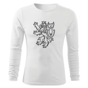 WARAGOD Fit-T tričko s dlhým rukávom český lev, biela 160g/m2