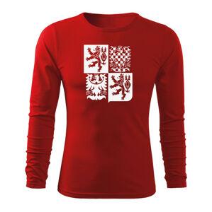 WARAGOD Fit-T tričko s dlhým rukávom český velký znak, červená 160g/m2