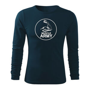 WARAGOD Fit-T tričko s dlhým rukávom muscle army biceps, tmavomodrá 160g/m2