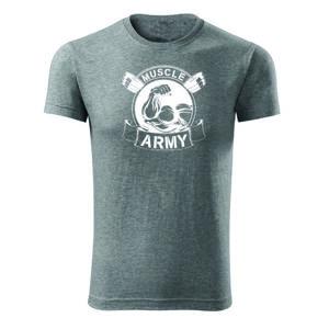 WARAGOD fitness tričko muscle army original, sivá 180g/m2