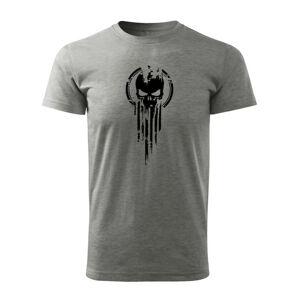 WARAGOD krátke tričko skull,, sivá 160g/m2