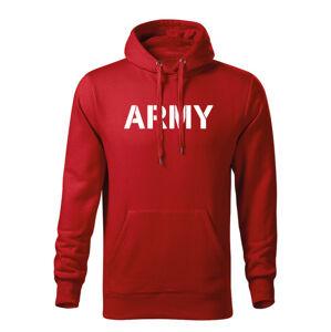 WARAGOD pánska mikina s kapucňou army, červená 320g/m2