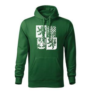 WARAGOD pánska mikina s kapucňou český velký znak, zelená 320g/m2
