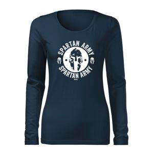 WARAGOD Slim dámske tričko s dlhým rukávom Archelaos, tmavo modrá160g/m2