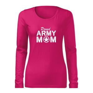 WARAGOD Slim dámske tričko s dlhým rukávom army mom, ružová 160g/m2