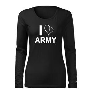 WARAGOD Slim dámske tričko s dlhým rukávom i love army, čierna 160g/m2