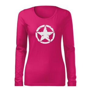 WARAGOD Slim dámske tričko s dlhým rukávom star, ružová 160g/m2