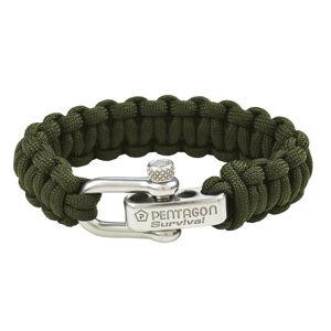 Pentagon náramok paracord olivový kovová spona