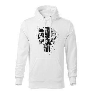 WARAGOD pánska mikina s kapucňou Frank The Punisher, biela 320g/m2