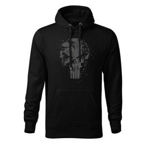 WARAGOD pánska mikina s kapucňou Frank The Punisher, čierna 320g/m2