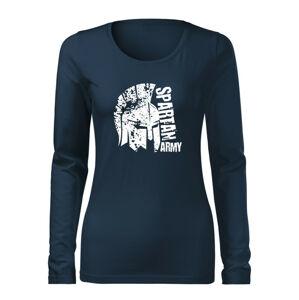 WARAGOD Slim dámske tričko s dlhým rukávom León, tmavo modrá 160g/m2